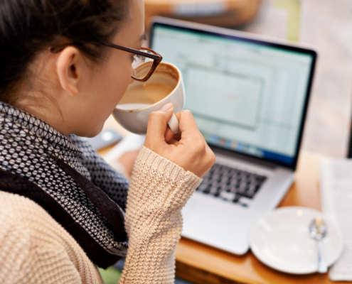 Sipping coffee while enjoying free wifi